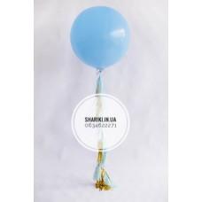 Шар 90 см, голубой с золото-голубыми кисточками