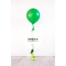 Шар 90 см, зеленый с лаймово-зелеными кисточками