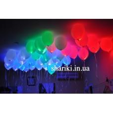"""Светящиеся шарики 12"""" с гелием, разноцветные"""