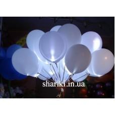 """Светящиеся шарики 12"""" с гелием, белые"""