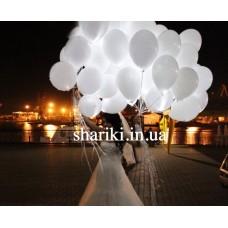 """Светящиеся шарики 10"""" с гелием, белые"""